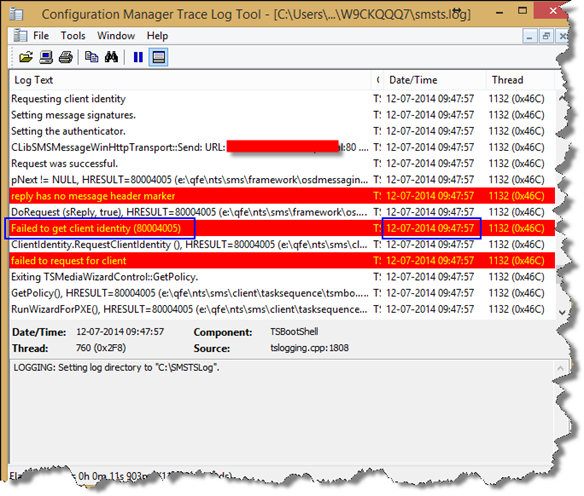 SCCM 2012: Failed to Get Client Identity (80004005)
